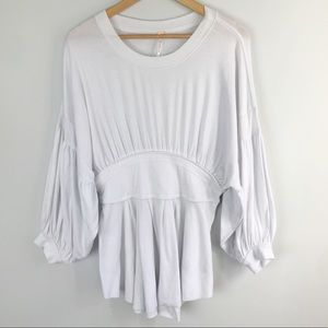 Free People White Oversized Tunic Puff Sleeve M
